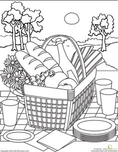 Second Grade Life Learning Worksheets: Color the Picnic Basket