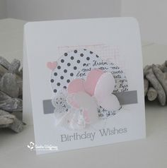 card butterfly butterflies pink grey white polkadots Made by Sandra Stampin Up Karten, Stampin Up Cards, Bee Cards, Butterfly Cards, Card Making Inspiration, Pretty Cards, Valentine Day Cards, Card Tags, Paper Cards