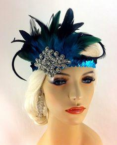 Flapper Headband,1920's Headpiece, Art Deco Headband, Crystal Rhinestones, Turquoise and Black Sequins, Great Gatsby, SHIP READY