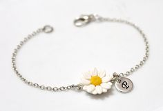 Daisies Bracelet, Personalized Silver Disc, Couple's Initials, Monogram Charms , Mother Jewelry, Silver Personalized, Sterling Silver by NikushJewelryArt on Etsy