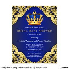 Royal Invitation Template Lovely Fancy Prince Baby Shower Blue and Gold Invitation Baby Shower Invitation Templates, Gold Invitations, Baby Shower Invitations For Boys, Baby Shower Themes, Baby Boy Shower, Shower Ideas, Invitation Cards, Royal Invitation, Baby Theme