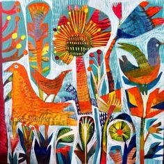 Oranje en blauw, zonnige dag is een beeld dat kleur en een beetje vreugde aan elke ruimte toevoegen zal. Gelukkig vogels en bloemen vormen in Este van handtekening stijl. Beschikbaar voor de internationale scheepvaart, dit gelimiteerde oplage van 50 archiveringsdoeleinden kwaliteit ondertekende prints zijn gerold in een cellofaan folie en verzonden in een kartonnen koker. Grootte: 42cmx42cm, iets meer dan 16 x 16