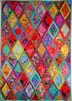 Kaffe Fassett fabric Bordered Diamonds Quilt