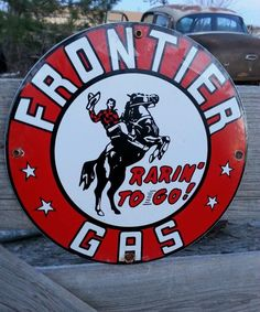 Frontier Gasoline Porcelain Sign Oil Gas Pump Vintage Lubester Lube Rack Plate from $18.0