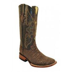 Ferrini Ladies Taupe Print Suede Alligator Boots S-Toe 90793-41