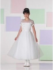 Tea-length A-line Satin and Tulle Ruched Tulle Waistband V-back Bodice Illusion Scoop Neckline Flower Girl Dress
