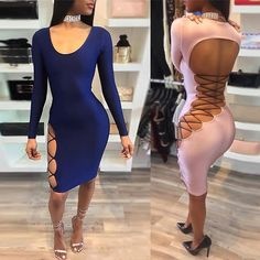 Stylish Scoop Neck Back Caged Bandage Bodycon Dress