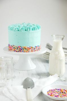 Funfetti Celebration Cake {gluten & dairy free} - The Kitchen McCabe - - Makes 1 tall cake. For a larger cake, double the recipe and bake in round pans(may need to be done in 3 pans). Cake is best served on the same day it is baked. Funfetti Cupcake Recipe, Funfetti Cake, Cupcake Cakes, Pretty Cakes, Beautiful Cakes, Piece Of Cakes, Gluten Free Desserts, Dessert Recipes, Celebration Cakes