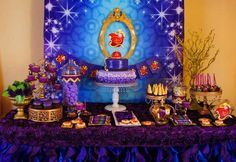 Amazing dessert table at a Disney Descendants birthday party! See more party ideas at CatchMyParty.com!