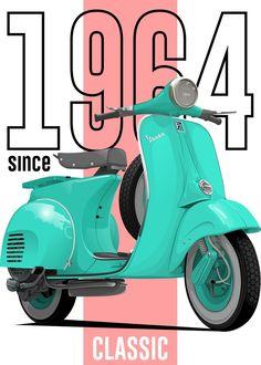 Lambretta Scooter, Vespa Scooters, Vespa Motorcycle, Vintage Italian Posters, Vintage Travel Posters, Classic Vespa, Classic Cars, Vespa Vector, Vespa Illustration