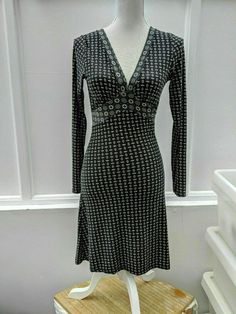 Louche Jorie Dress Black and White V-neck Size 10 (159) #Louche #ALine
