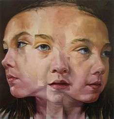 """Snip and Tuck"" - Jahru, oil on canvas, 2010 {figurative surreal art female head girl face triple-exposure portrait drawing}"