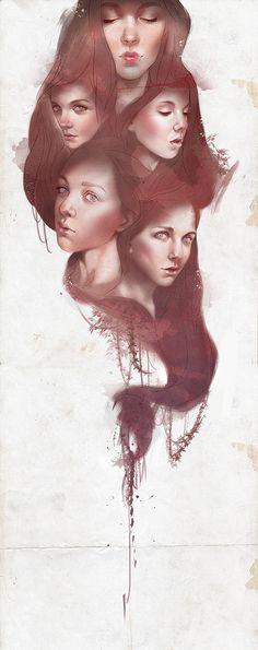 faces by Aykut Aydoğdu, via Behance #digital #painting #illustration #drawing #girls #hair #portraits #faces