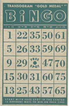 vintage game card bingo