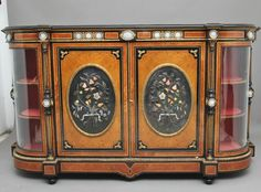 19th Century amboyna and ebonised exhibition quality credenza vintage cabinet. Fluted Columns, Antique Cabinets, Storage Cabinets, 16th Century, Credenza, Liquor Cabinet, Antiques, Vintage Cabinet, Glass Doors