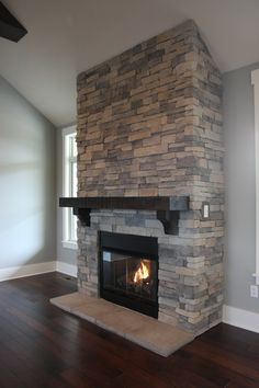 Excellent Pic Stone Fireplace living room Suggestions The Fireside Retreat – Stone Fireplace with Large Mantle, Tv Above Fireplace, Basement Fireplace, Cabin Fireplace, Fireplace Remodel, Fireplace Design, Fireplace Ideas, Living Room Decor Fireplace, Living Room Panelling, Room Paint Colors