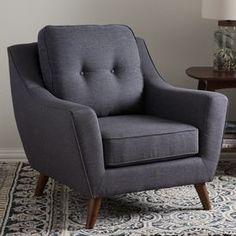 Baxton Studio Deena Mid-Century Modern Dark Grey Fabric Upholstered Walnut Wood Button-Tufted Armchair