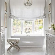 Master Bathroom with Gray Washstand, French, Bathroom
