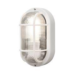 Konstsmide Elmas 7650-200 Bulk Head Wall Light W: 12cm D: 10.5cm H: 20cm / 1x40W / Plastic / Clear Ribbed glass / White * Read more at the image link. #GardenDecor