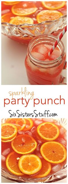 This Sparkling Red Party Punch can be thrown together in minutes and is perfect for parties! Fruit Drinks, Smoothie Drinks, Party Drinks, Cocktail Drinks, Smoothies, Alcoholic Drinks, Cocktails, Drinks Alcohol, Alcohol Recipes