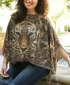 Another great find on #zulily! Gold Tiger Poncho - Plus #zulilyfinds