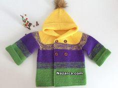 ÇOCUKLARA 3 YAŞA UYGUN KAPÜŞONLU HIRKA YAPIMI | Nazarca.com Working With Children, Lana, Crochet Baby, Knitting, Fashion, Crochet Baby Clothes, Baby Knitting, Sacks, Coats