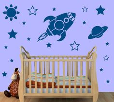 Large Rocket Ship Stars Planet Wall Stickers by GraphicsDirect
