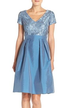 Adrianna Papell Embroidered Taffeta Fit & Flare Dress available at #Nordstrom