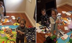 Mischevious triplets caught red-handed trashing family photos