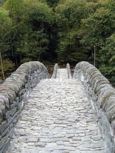 Ancient stone bridge in Verzasca valley Switzerland