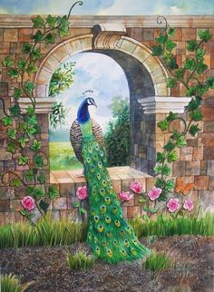 Peacock Arch - Watercolor on paper on Behance Peacock Wall Art, Peacock Painting, Peacock Decor, Nature Pictures, Beautiful Pictures, Peacock Pictures, Krishna Art, Bird Art, Indian Art