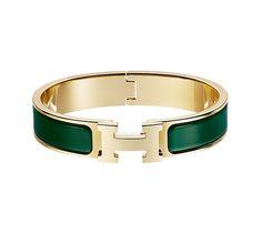 "Clic H Hermes narrow enamel bracelet Gold plated hardware, 2.5"" diameter, 8"" circumference, 0.5"" wide<br /> Color : vert sapin"