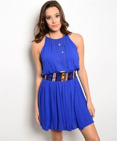 Royal Blue SHOP THE TRENDS Sleeveless Woven Summer Dress Multi-Color Waist #ShopTheTrends #Blouson #SummerBeach