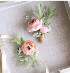 Corsage and Boutonniere Set, Wrist Corsage, Mia Pink Ranunculus Peony // Wedding / Prom / Bridesmaids / Groomsmen Product Details - Features ranunculus buds in a lovely shade of peach perfect - Arranged with white and green berries and leafy elements - av Prom Flowers, Diy Wedding Flowers, Bridal Flowers, Floral Wedding, Wedding Bouquets, Wrist Corsage Wedding, Diy Flowers, Corsages For Wedding, Wrist Flowers For Prom