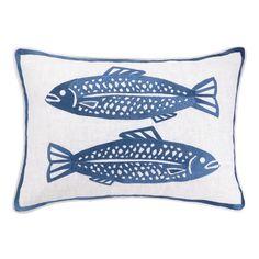 Found it at Wayfair - 2 Fish Embroidered Linen Lumbar Pillow