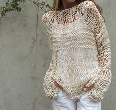 cream sweater cotton and linen summer grunge sweater by ileaiye