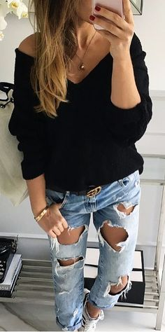 black knits   rips | street style perfection