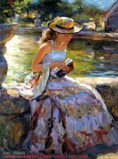 Sitting on edge of fountain [not official title] -- by artist Vladimir Volegov, Russian; Lysee (International) Art Co., Ltd.