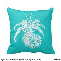 Aqua with White Hermit Crab Burlap Look Pillow