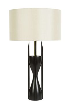 Anonymous; Stained Black Walnut and Brass Table Lamp by Modeline, 1960s.