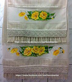 Jogo de toalhas com macrame