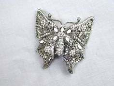 Large Hair Clip Wedding Bridal Jeweled Filigree Silver Tone Butterfly Aurora Borealis Art Nouveau Vintage Collectible Gift Item 2122