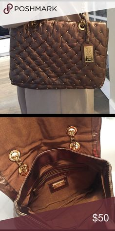 Badgley Mischka quilted bag Brown shoulder bag with gold hints. Never used! Badgley Mischka Bags