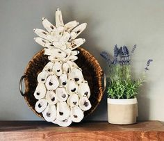 These adorable air plants are incased in gold gilded oysters on a bright slice of wood trimmed in gold. Seashell Art, Seashell Crafts, Beach Crafts, Diy And Crafts, Arts And Crafts, Seashell Projects, Oyster Shell Crafts, Oyster Shells, Sea Shells