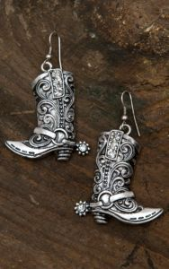 Blazin Roxx Silver with Crystals Boot Dangle Earrings 30360 | Cavender's