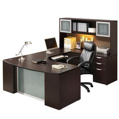 Pacific Coast Distributors Classic Laminate Series executive desk w/ step-front u-unit in espresso, walnut, and cherry