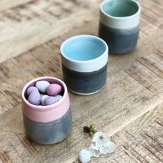 Glazes as flavours... we have a winner. @globatris got my taste buds tingling with raspberry and liquorice - apparently salt and sweet is a common combination in Sweden. I am so happy with my porcelain throwing skills on how these versatile little beakers have turned out. Wine, tea, plants - what would you put in the blueberry and mint with liquorice versions? #anyeggscuse (available in my @Folksy shop; link in profile).