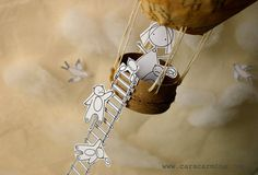 Together up in the sky   Photo print  Paper diorama by Caracarmina, $20.00