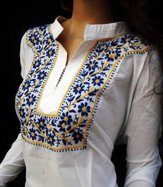 Snow White beach wedding shirt tunic gift for womens fashionable blouse  Blend of Traditional weaves with Contemporary Treatment Our embroidered garments are available in wide range of attractive desi