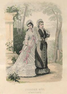 Tygodnik Mód 1876 Victorian Women, Victorian Fashion, Vintage Fashion, Summer Gowns, 1870s Fashion, Steampunk Costume, Fashion Plates, Public Domain, Cut And Style